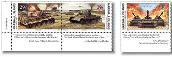 1943 WWII Tank Battle of Kurst Tigers vs T34 Tanks set of 2_1941 WWII Germany Invades Russia with Tanks on Mint Postage Stamp.jpg
