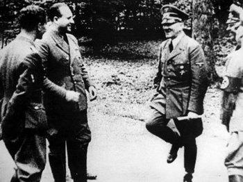Adolf Hitler and Staff Celebrate France's Surrender at Compiegne, June 21, 1940.jpg
