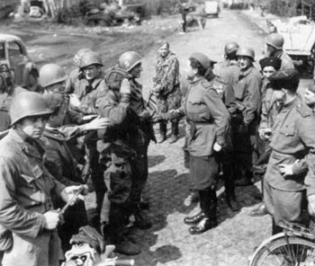 American and Soviet troops meet east of the Elbe River.jpg