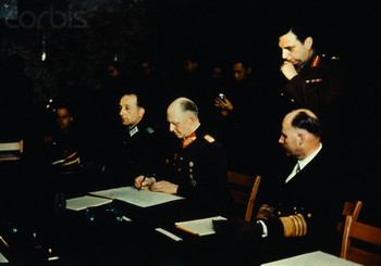 Col. General Gustav Jodl signs for Germany at Reims. General Admiral Hans G. Von Friedeburg.jpg