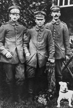 Corporal Adolf Hitler (right) during World War I. He suffered a groin injury during the Battle of the Somme.jpg