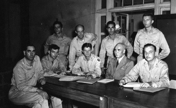 Defense Counsels with Japanese General Homma.jpg