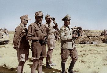 Erwin Rommel observing the field near El Alamein, Egypt, 18 Jun 1942.jpg
