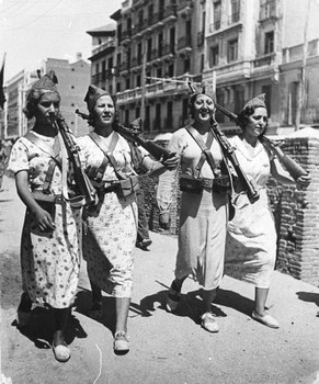 Four female Loyalists patrol the street with rifles over their shoulders, 1937.jpg