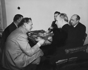 Goering, Doenitz, Funk, von Schirach and Rosenberg have lunch at the Nuremberg trials.jpg