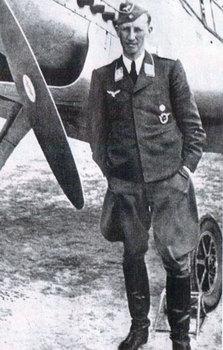 Heydrich as a Major in the Luftwaffe, posing next to a Messerschmitt BF 109.jpg