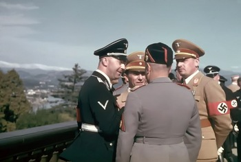 Himmler, Goebbels, Frank and Mussolini ( on back ) in Florence during Hitler's state visit to Italy in 1938.jpg