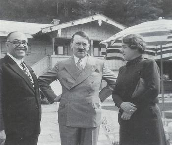 Hitler with his personal physician Dr. Theo Morell and Morell's wife Hannelore.jpg