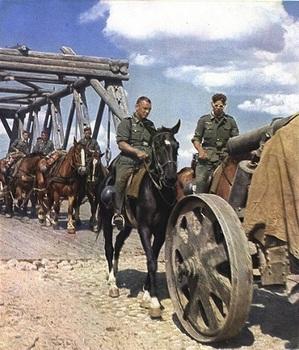 Horse drawn wagon of Wehrmacht Crossing the bridge.jpg