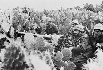 Italian gunners sit near field gun among the thickets of cactus in Tunisia.jpg
