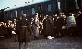 Jews from the Lodz ghetto in Poland are placed on a train bound for Auschwitz.jpg