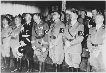 Joseph Goebbels, Robert Ley, Heinrich Himmler, Victor Lutze, Rudolf Hess, Adolf Hitler and Julius Streicher. (June 9, 1938).jpg