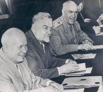 Khrushchev Bulganin  Zhukov.jpg