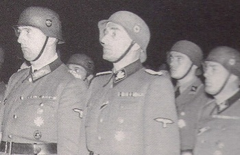 Kurt Daluege Karl Hermann Frank stahlhelm German helmey M35 in wear.jpg