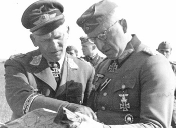 Manstein consulting with Colonel General Wolfram Baron von Richthofen, Commanding General VIII Fliegerkorps, May 1942.jpg