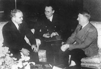 Molotov, left, meets with Nazi German chancellor Adolf Hitler in Berlin, on November 13, 1940.jpg