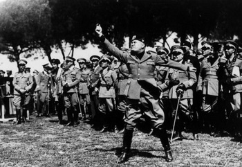 Mussolini testing a new type of gas bomb during a demonstration in Rome of various chemical weapons.jpg