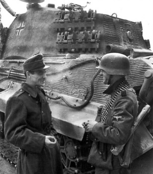 SS Division grenadier talking with a Hungarian soldier in Budapest, October 1944. The King Tiger is from the schwere Panzer-Abteilung 503.jpg