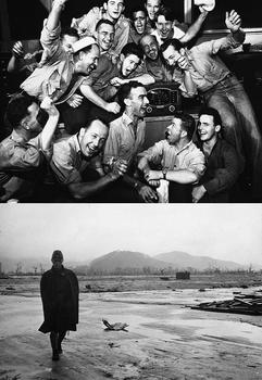 Sailors in Pearl Harbor,  Japan surrender_A Japanese soldier walks through a completely leveled area of Hiroshima.jpg