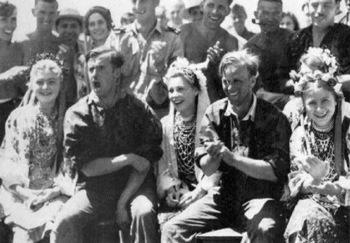 Soldiers of the Waffen-SS Division 'Leibstandarte Adolf Hitler' with Ukrainian girls.jpg