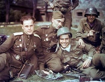 Soviet officers and U.S. soldiers during a friendly meeting on the Elbe River.jpg