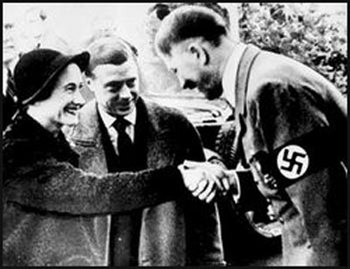 The Duke and the Duchess are greeted by Adolf Hitler on their visit to Germany in 1937..jpg