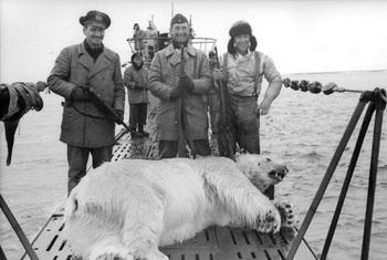 U-Boot-Besatzung mit Gewehren posiert an Bord mit totem Eisbär.jpg