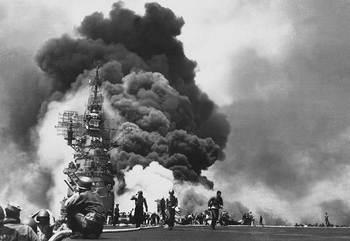 U.S.S. Bunker Hill suffering the attack of an Yokosuka MXY-7 Ohka..jpg
