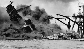 USS Arizona burning after the Japanese attack on Pearl Harbor,.jpg