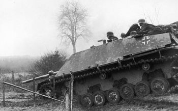 View of German soldiers aboard a Jagdpanzer IV-70 tank destroyer from the SS Panzer Division during the Battle of the Bulge.jpg