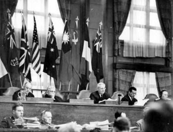 Webb presiding over the International Military Tribunal for the Far East in 1946.jpg