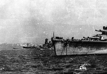 from left to right  Musashi, Yamato, a cruiser and Nagato.jpg