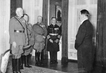 von Blomberg, Minister Göring, der Oberfehlshaber des Heeres General der Artillerie Freiherr von Fritsch and Minister Raeder.jpg